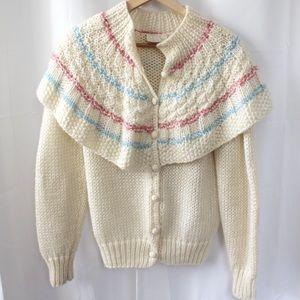 80s Capelet Cardigan Sweater Cream Sz M. Hand Knit